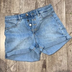 H&M High waisted button you short shorts Brand New